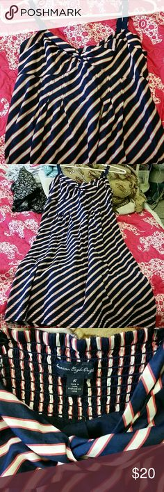 American Eagle Dress Navy blue with gray and red stripes. Excellent condition! Never worn. American Eagle Outfitters Dresses Midi