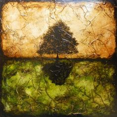 Abstract Tree Painting -- 24 x 24 -- Irridescent Paints Incorporated -- I Dream In Maple by Britt Hallowell. $220.00, via Etsy.