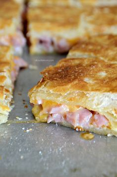 Delicious ham and cheese melted between layers of flaky puff pastry. This Ham and Cheese Puff Pastry Melt is the perfect way to use up leftover ham. Brunch Recipes, Appetizer Recipes, Breakfast Recipes, Appetizers, Eat Breakfast, Breakfast Puff Pastry, Puff Pastry Recipes Savory, Recipes Using Puff Pastry, Leftover Ham Recipes