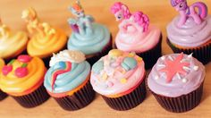 MY LITTLE PONY CUPCAKES - NERDY NUMMIES (very customizable, just make any white cupcake mix and put on any white buttercream frosting to dye both. so maybe experiment with ways of making cupcakes like this, make a few different types in one batch when you try it out? like different amounts of flour or sugar in different cupcakes. and mark which is what. then take these to skyler's family first time over to smooth things over maybe?)