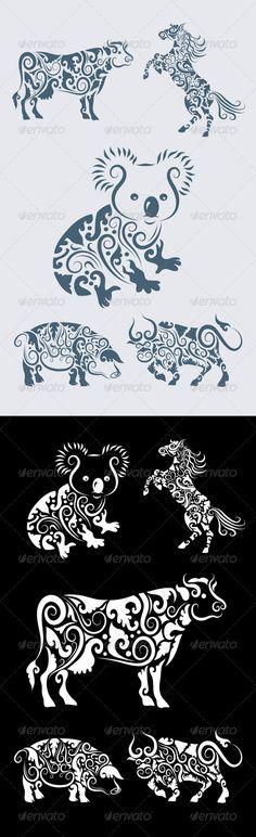 Koala ornament and friends (5 animal ornaments) - Flourishes / Swirls Decorative