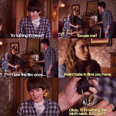 """Loved this scene. """"Ok I'll just try ringing the bird's neck. House Of Anubis, Stranger Things, Ships, Scene, Fandoms, Kawaii, Bouquets, Strange Things, Boats"""