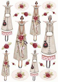 Shabby Vintage Bügelbild Rose Engel 1 NO. Shabby Vintage, Diy And Crafts, Arts And Crafts, Paper Crafts, Fabric Dolls, Paper Dolls, Softies, Sewing Dolls, Little Doll