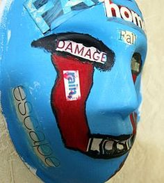 A mask, painted by a Marine who attended art therapy to relieve post-traumatic stress disorder symptoms.