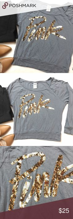 VS PINK Gold Sequin Bling Slub Gray Top VS PINK Gold Sequin Bling Slub Gray Top size XS. Great condition! Sequins are perfect. Scoop neck can be worn off shoulder as well. PINK Victoria's Secret Tops
