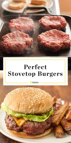 Burger Recipes 49552 How To Make the Best Burgers on the Stovetop Burger Toppings, Cheese Burger, Burger Meat, Burger Buns, Hamburgers On The Stove, Burgers On Stove Top, Pan Fried Hamburgers, Cooking Hamburgers, Stovetop Burgers