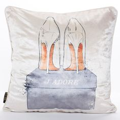 J'Adore Shoes Embellished Pillow - Oliver Gal Art