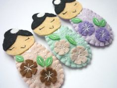 Japanese Kokeshi felt hairclips - girls- summer trends- Pastel colours- hairpins