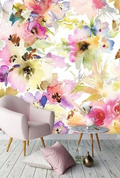self adhesive wallpaper, removable wallpaper, wall mural, wall decor, watercolour, floral wallcovering, exotic leaves, floral, peel&stick