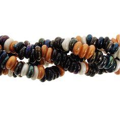 Glass Rondelle Bead Strand, Sea Pebbles, 2x7mm