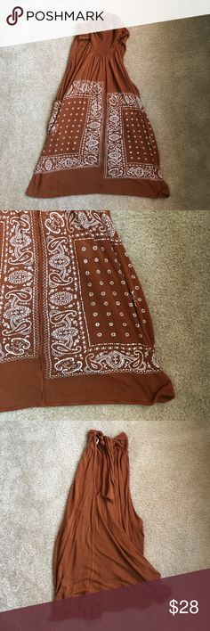 Burnt orange paisley dress from Free People Open back, ties at the neck. Slits on the sides. Perfect condition. Bought in spring '17 Free People Dresses Mini