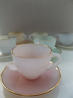 arcopal france vintage mid century 60s 50s tea set 6 cups and saucers pastel harlequin