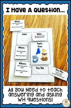 Do you struggle with helping your students learn to ask and answer WH questions? This product has scaffolded activities and visual support to help your students in speech therapy, social language groups, ESL and special education learn these skills successfully! Three different activities with pictures, instructions and extension ideas are included. These activities can be used over several weeks and are flexible enough to take your from your littles to your middles!