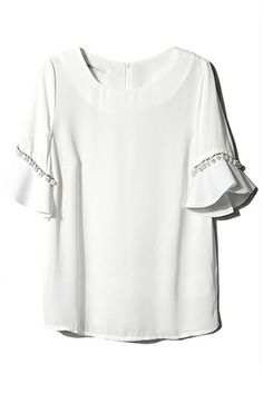 Shop ROMWE Zippered Flouncing Cuffs T-shirt at ROMWE, discover more fashion styles online. Preppy Style, Style Me, Future Clothes, Cute Blouses, Summer Blouses, Latest Street Fashion, Designer Wear, Playing Dress Up, Fashion Brand