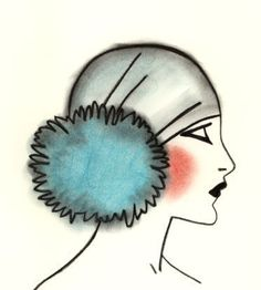 Art Deco Flapper Girl  4 for 3 SALE Blue Pom Pom by matouenpeluche, $6.50