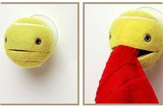 Tennis Ball towel holder. Cute!  http://www.recyclart.org/page/27/