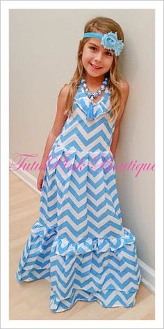 Maxi Boutique Ruffle Dress Turquoise Chevron Frozen Inspired $17.00