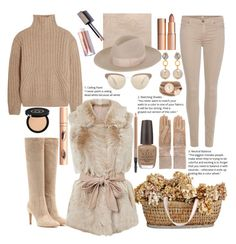 """""""Beige"""" by marionmeyer ❤ liked on Polyvore featuring Totême, 7 For All Mankind, Gianvito Rossi, Gucci, Super Duper, Marni, Oliver Peoples, GALA, OPI and MAC Cosmetics"""
