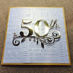 50th Birthday Card Handmade Golden Birthday Card Happy by zuCards