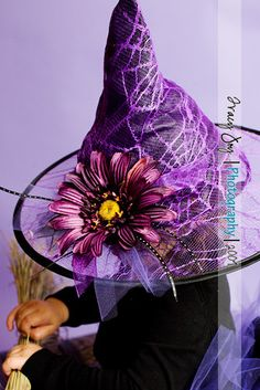 Ready2ship Halloween Purple Webbed Witch Hat matches our purple witch tutu fits most 1-3 yr olds