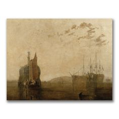 This ready to hang, gallery wrapped art piece features boats on a lake. Joseph Turner was a British Romantic landscape painter, water-colourist, and printmaker. Turner was considered a controversial f
