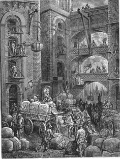 "Gustave Doré  1872. The following is his illustration of Pickle Herring Street for the publication, ""London – A Pilgrimage"" Doré probably used some artistic license in this drawing, the buildings look rather too finely built for riverside warehouses, however it probably does give a good impression of the atmosphere in Pickle Herring Street at the time."