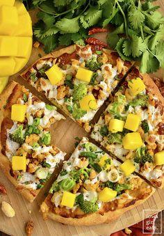 Switch up pizza night with gluten-free Thai Chicken Flatbread Pizza featuring savory peanut sauce, fresh herbs, and sweet mango. Chicken Flatbread, Flatbread Pizza, Thai Chicken, How To Cook Chicken, Mango Jam, Mango Sorbet, Best Homemade Pizza, Mango Recipes, Mango Salad