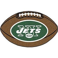 New York Jets football shaped rug