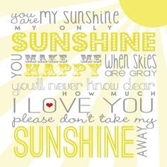 You Are My Sunshine Free Printable {via Between U & Me}  #ValentinesDay #sunshine