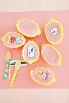 Strawberry Frozen Yogurt +Frozen Lemon Bowls