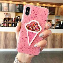 3D Dynamische Roze Ijs Telefoon Case voor Iphone 6 Case 6 Plus mooie Vloeibare Drijfzand Telefoon Voor IPhone 7 X Case 7 8 Plus(China)