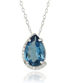 Take a look at the London Blue Topaz & Sterling Silver Wrapped Pear Pendant Necklace on #zulily today!