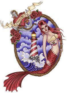 "lighthouse, anchor, mermaid. ""return to me"""