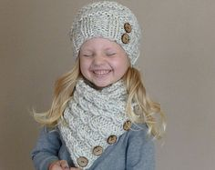 Hand Knit Toddler Kids Slouchy Hat and Cowl by BoPeepsBonnets