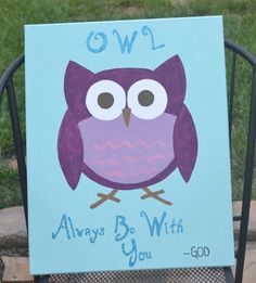 Personalized OWL children's canvas art  OWL Always Be by girls4god, $35.00