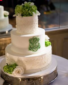 Hand piped buttercream to match our brides dress. #desserts #cakes #wedding #weddingcake #bride #bridalparty #green #SweetSisters