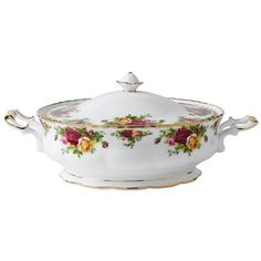 Royal Albert Old Country Roses Covered Vegetable Dish ($170) ❤ liked on Polyvore featuring home, kitchen & dining, serveware and royal albert