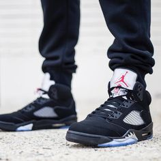"NEW ARRIVALS: The Nike Air Jordan 5 Retro ""Black Metallic Silver"" is available in men's & youth sizes at kickbackzny.com."
