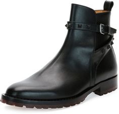 $1,245, Black Leather Chelsea Boots: Valentino Rockstud Leather Chelsea Boot Black. Sold by Neiman Marcus. Click for more info: https://lookastic.com/men/shop_items/335887/redirect