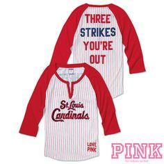 St. Louis Cardinals Victoria's Secret PINK® Raglan Henley Baseball Tee