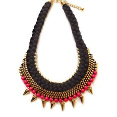 Boho Chic Black Pink beaded golden brass rope cord by XenaStyle