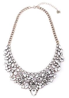 New Design Punk Chunky Statement Rhinestone Spike Necklace With Earrings Set