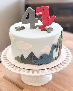 Dinosaur theme birthday cake rex the dinosaur cake Dinosaur Birthday Cakes, 4th Birthday Cakes, Dinosaur Cake, 1st Boy Birthday, Birthday Parties, Dinosaur Party, Theme Parties, Birthday Ideas, Bolo Dino
