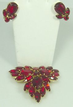 Unmarked Juliana Red Brooch and Earring Set