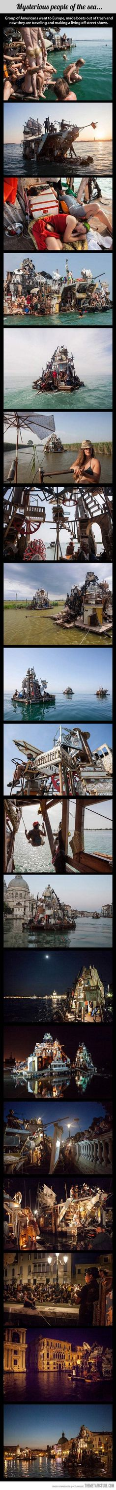 One man's trash is another man's boat…take this idea but have houses, castles or tree houses floating