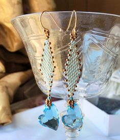 Hand beaded earrings with Swarovski blue Crystal by pjlacasse