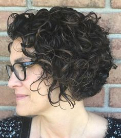 Black Wet Curly Bob with Subtle Highlights