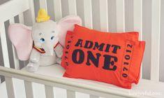 Nursery Circus ticket pillow tutorial and pattern is part of Vintage circus nursery - Nursery Circus ticket pillow tutorial and pattern DisneyNursery Dumbo Vintage Circus Nursery, Carnival Nursery, Dumbo Baby Shower, Baby Dumbo, Dumbo Nursery, Disney Nursery, Babies Nursery, Girl Nursery, Circus Baby