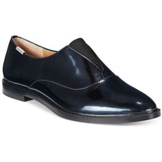 Calvin Klein Daphne Slip-On Oxfords ($38) ❤ liked on Polyvore featuring shoes, oxfords, perla nera metallic, calvin klein footwear, calvin klein, calvin klein shoes, slip on shoes and metallic oxfords