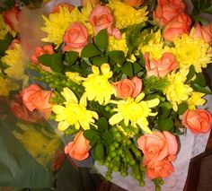Mixed flower bouquet yellow-peach (AFG-Worldwide South-Africa) Flower Bouquets, Flowers, South Africa, Floral Wreath, Peach, Wreaths, Yellow, Decor, Floral Bouquets